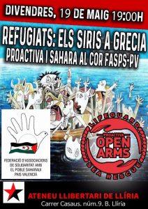 Refugiats: els siris a Grècia-PROACTIVA i Sàhara al cor-FASPS-PV (Llíria – Maig 2017)