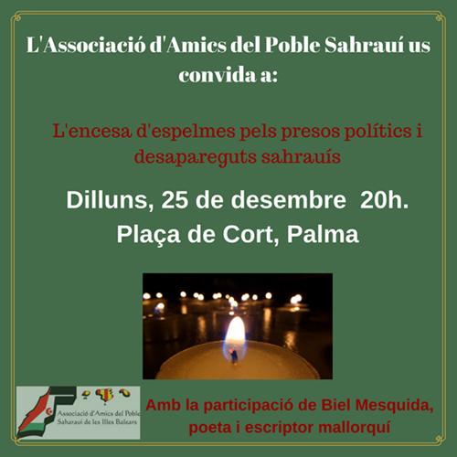 Concentración con encendido de velas por los presos políticos y desaparecidos saharauis.