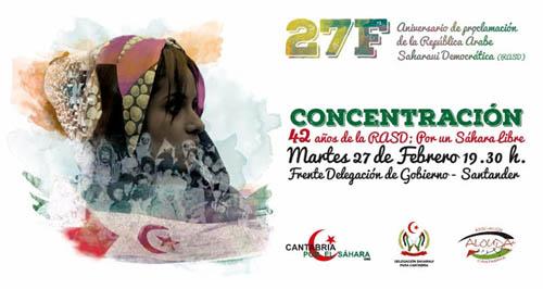 Cantabria por el Sáhara, Alouda y la delegación Saharaui convocan a concentrarse en 42 aniversario de proclamación de la RASD