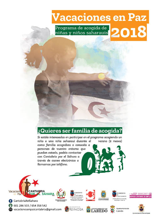 """Cantabria por el Sáhara busca nuevas familias de acogida dentro del programa """"Vacaciones en Paz"""" 2018"""