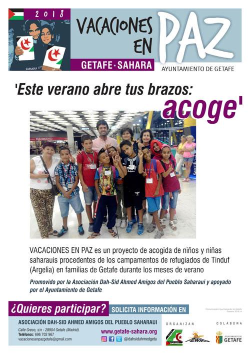 Vacaciones en Paz, acoge un niño o una niña saharaui este verano en Getafe con el Sahara