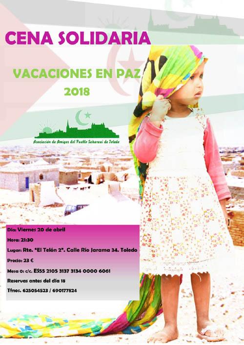 """Un año más celebramos nuestra cena solidaria a beneficio del programa """"Vacaciones en Paz"""", en la que además hacemos difusión de la causa saharaui."""