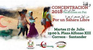 Cartel convocando Concentracion en Cantabria Vacaciones en Paz 2018