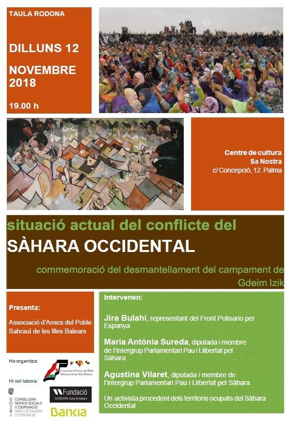 """Taula rodona: """"Situació actual del conflicte al Sàhara Occidental. Commemoració del desmantellament del campament de Gdeim Izik"""""""