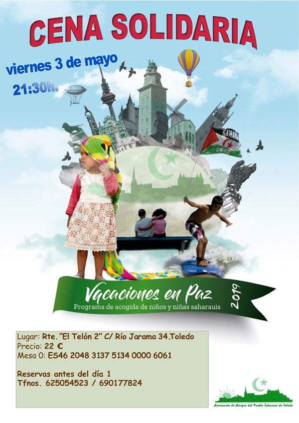 """Cena solidaria de la Asociación de Amigos del Pueblo Saharaui de Toledo """"Vacaciones en Paz 2019"""""""