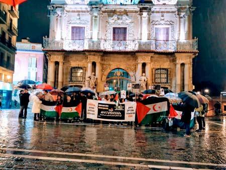 Momento de la concentración en Pamplona